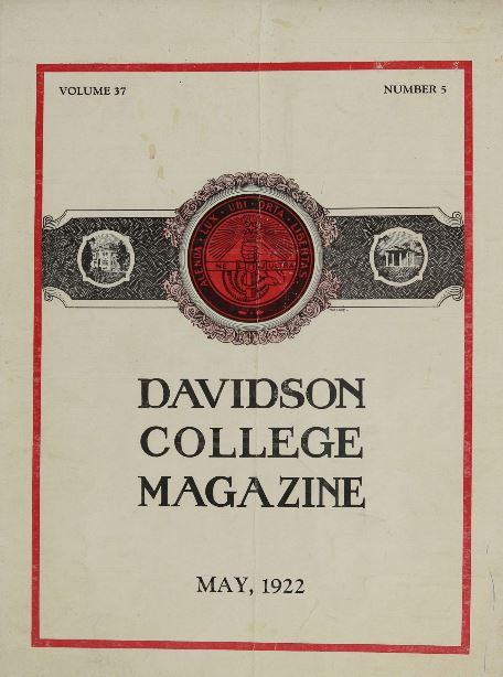 Cover of the 1922 edition of the Davidson College Magazine