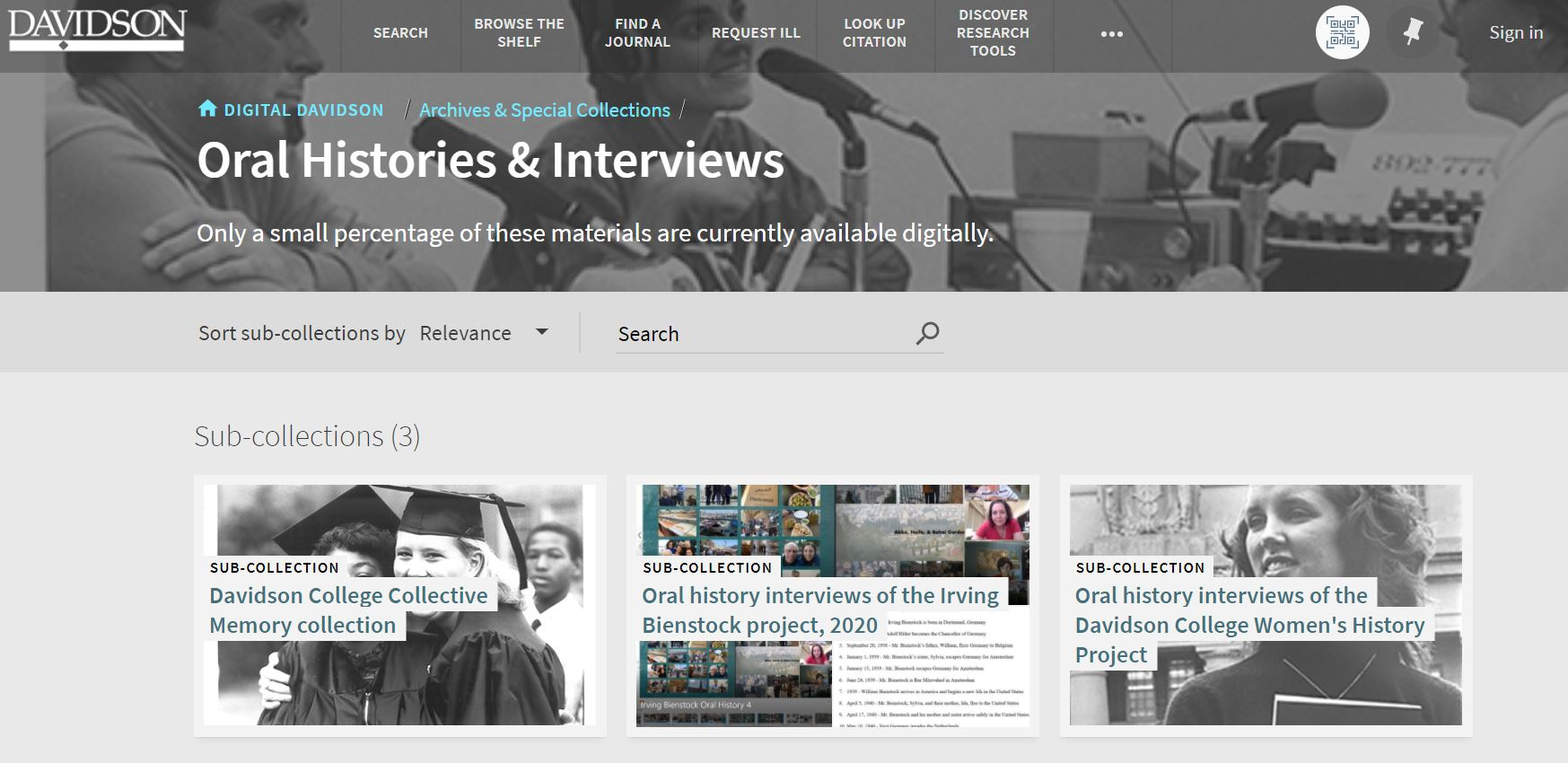 screenshot of oral history and interviews collection in digital davidson