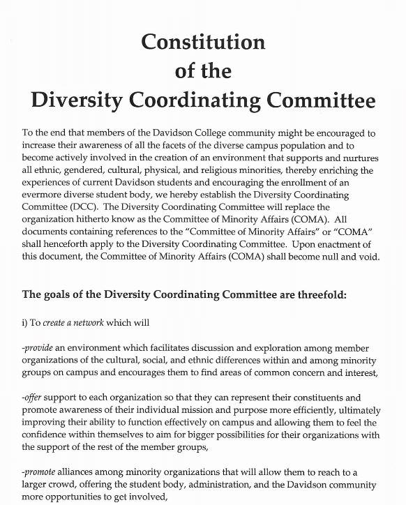 first page of the constitution of the SGA diversity coordinating committee