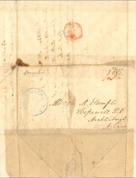 envelope of pinckney chambers letter