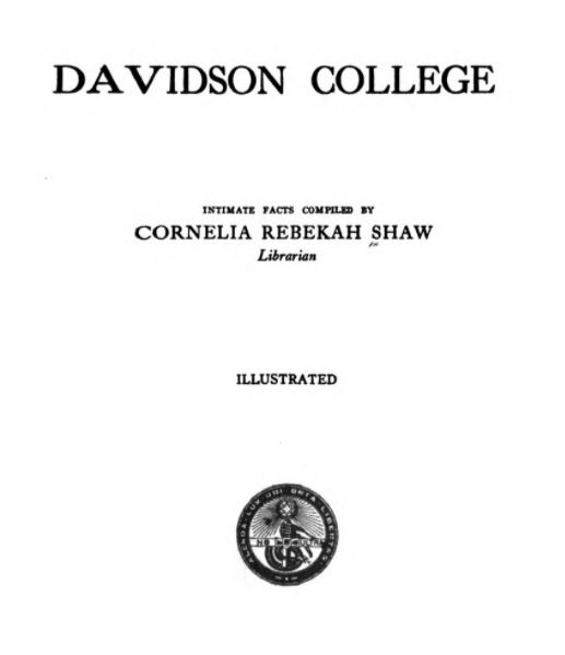 book cover to Davidson College; Intimate Facts