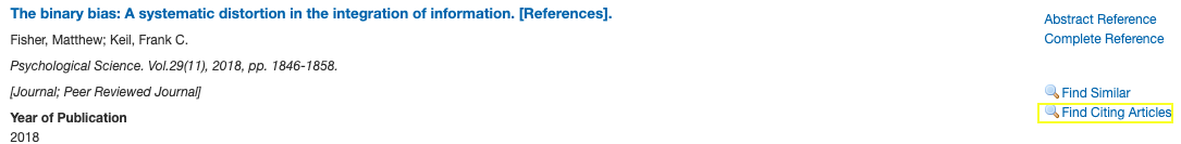 """Example of """"Citing Articles"""" in PsycINFO via Ovid."""
