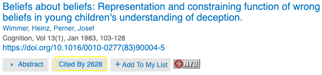 """Example of """"Cited By"""" link in PsycNET."""