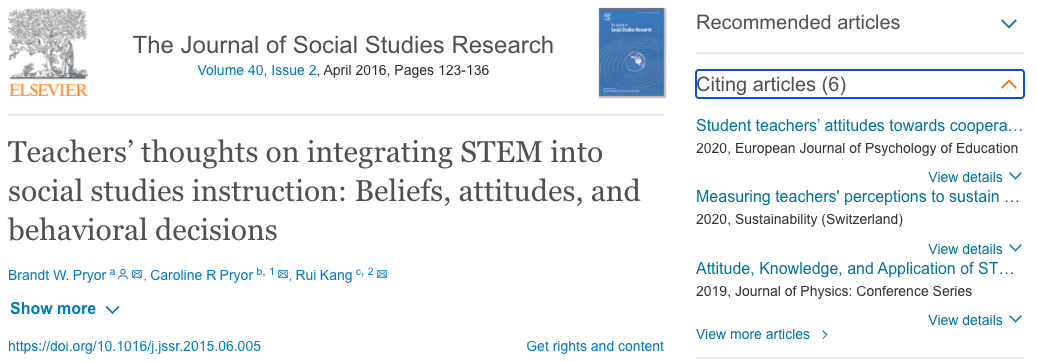 """Example of """"Cited By"""" section in ScienceDirect."""