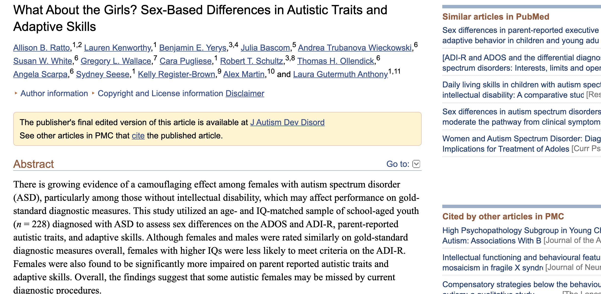 """Example of """"Cited By"""" in PubMed Central (PMC)."""