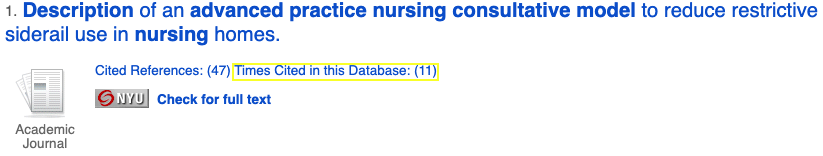 """Example of """"Times Cited"""" link in CINAHL result."""
