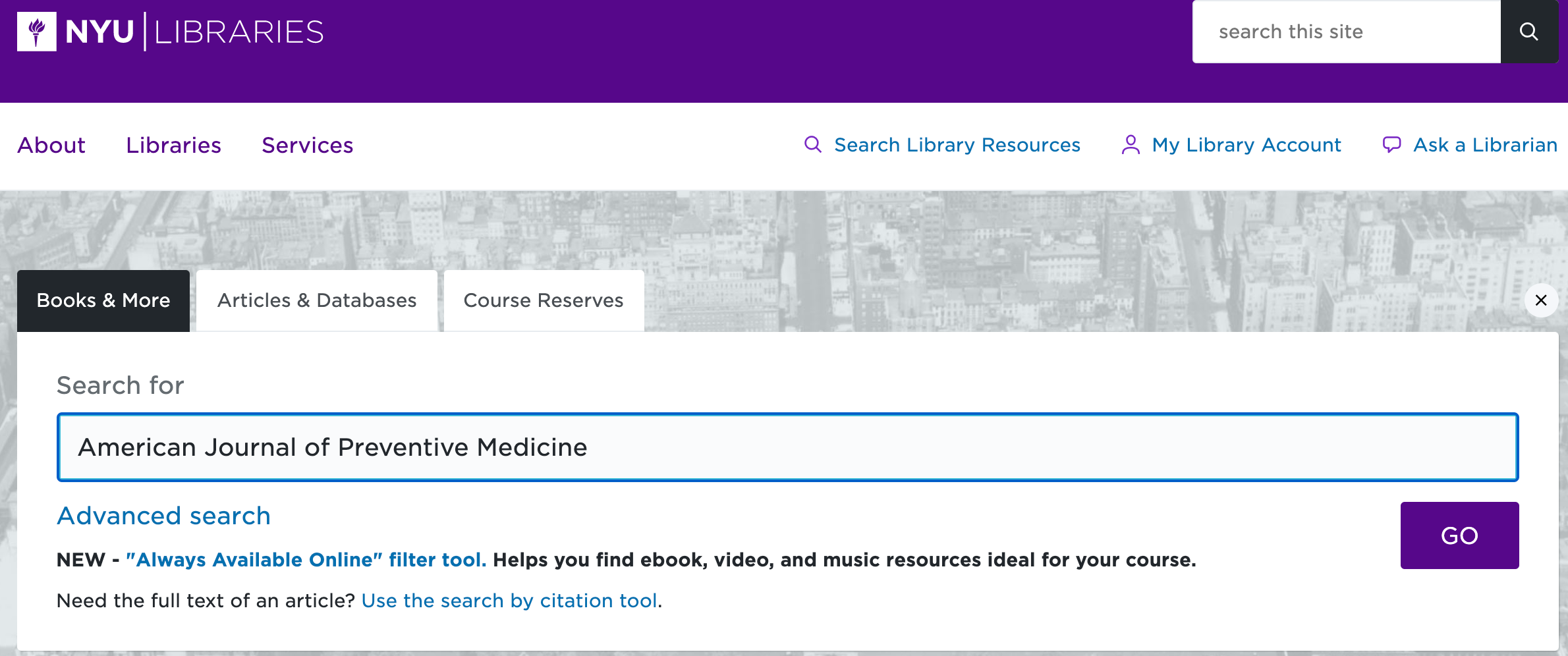 Screenshot showing you can search a journal's name in the main library catalog at library.nyu.edu