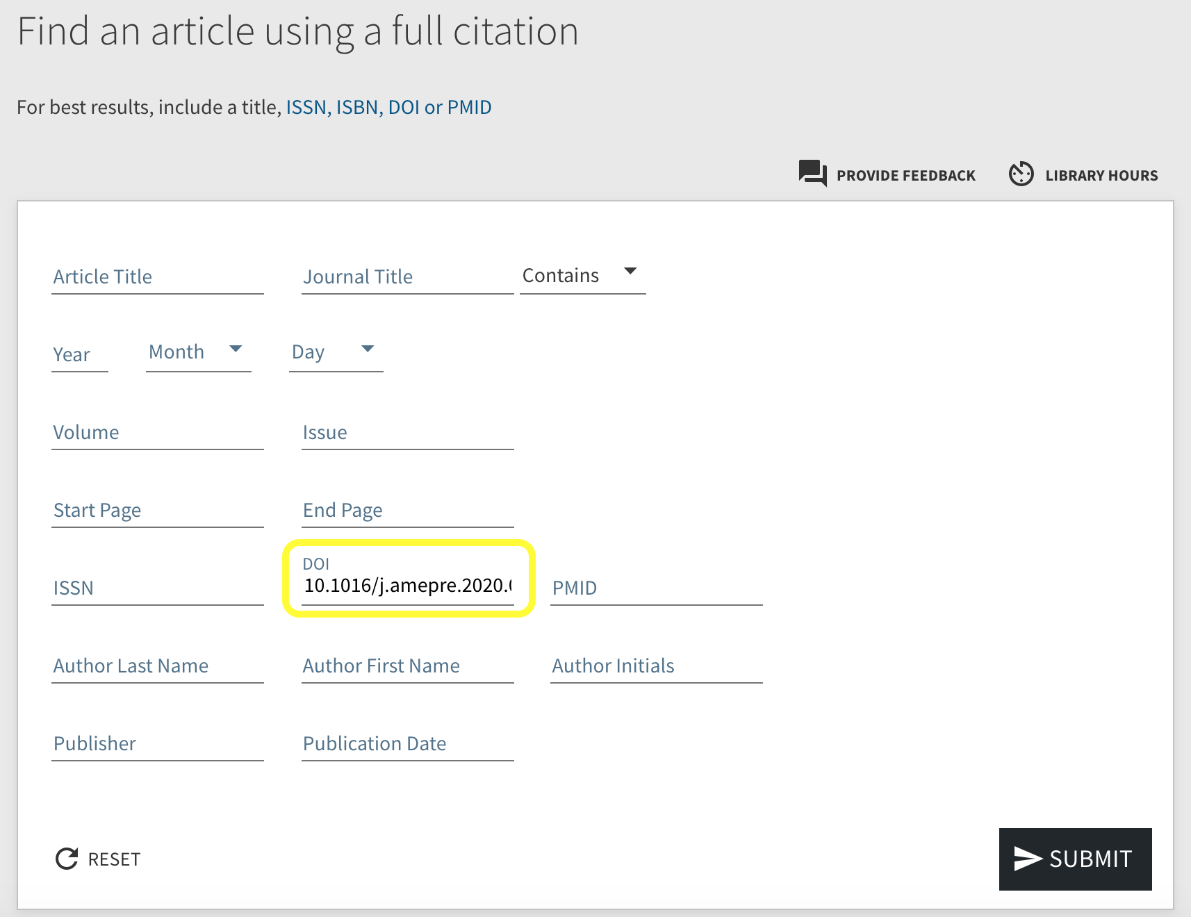 Screenshot showing where to input DOI in citation lookup tool
