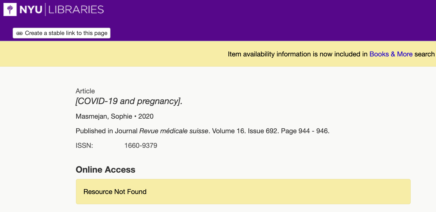GetIt page showing Resource Not found for an article from a journal NYU Libraries does not subscribe to