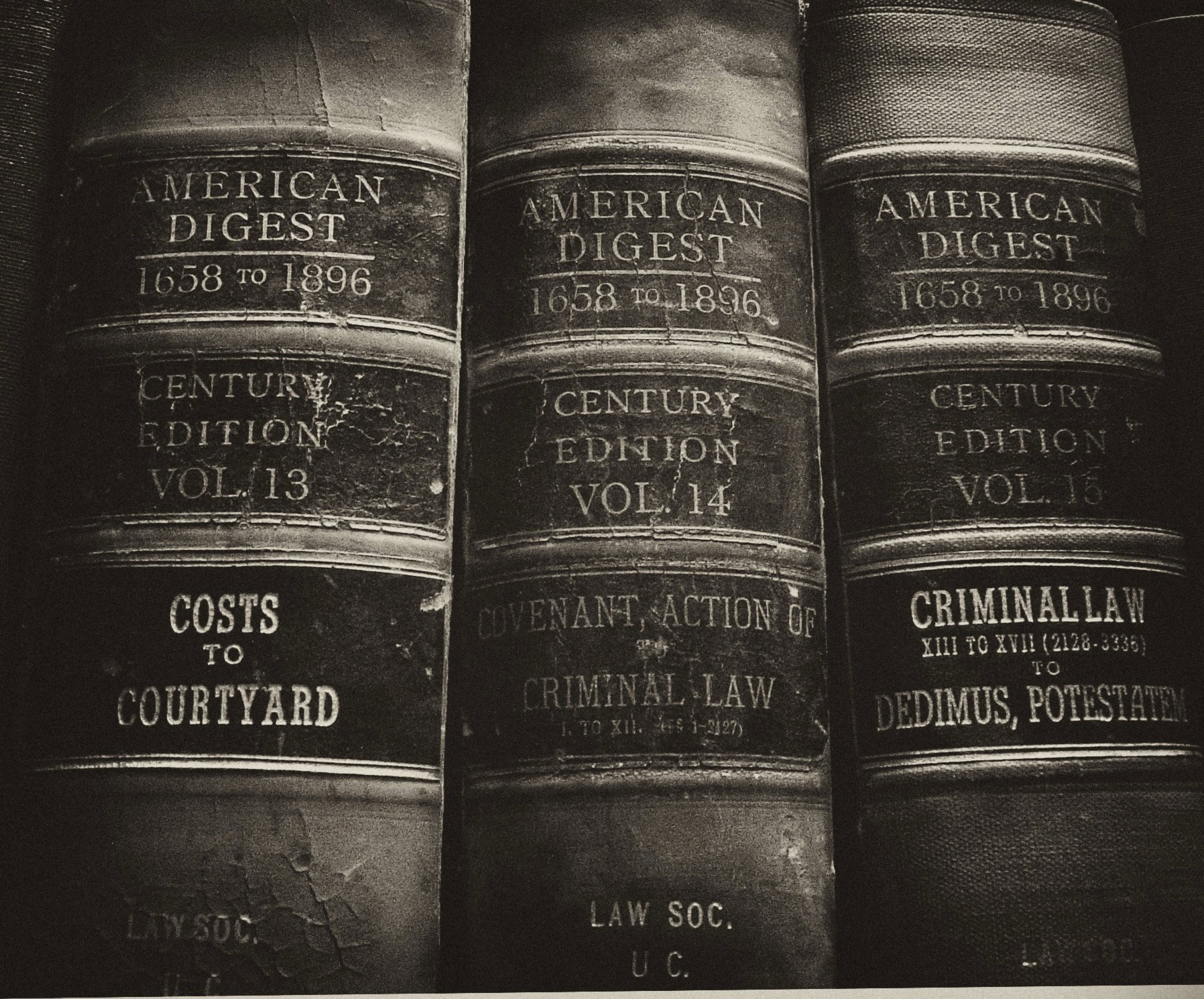 American Law Digest Books on a shelf in a library