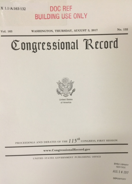 Congressional Record paper volume
