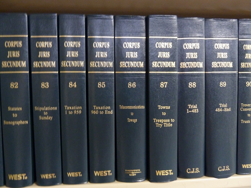 Corpus Juris Secundum books on a shelf in a library