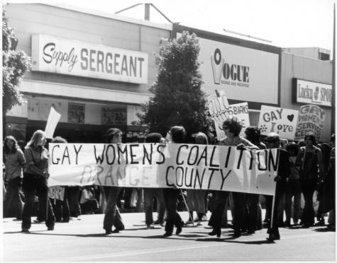 Marchers holding sign reading Gay Women's Coalition Orange County