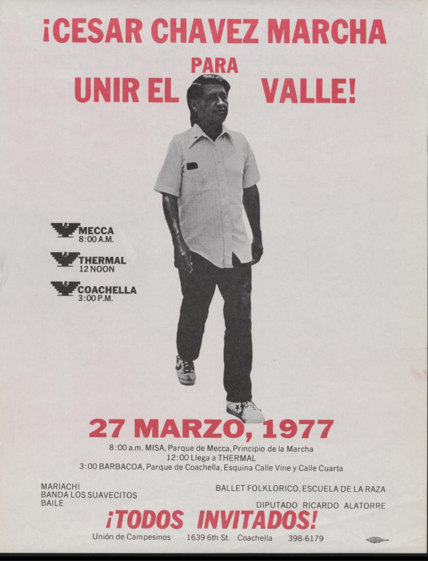 United Farm Workers poster from 1977 that depicts Cesar Chavez