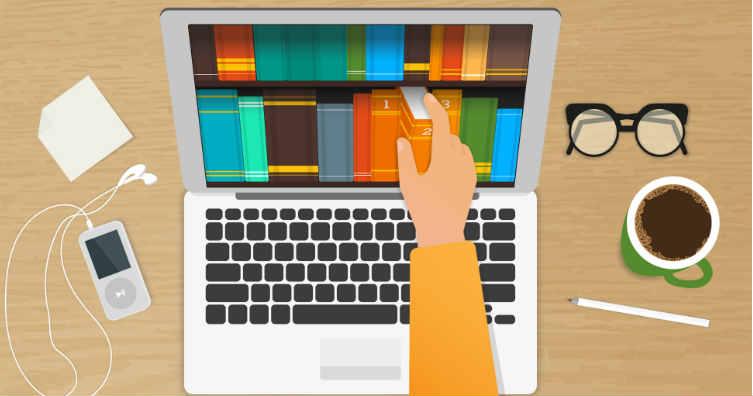 books on laptop