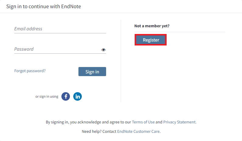 EndNote Web Login Screen