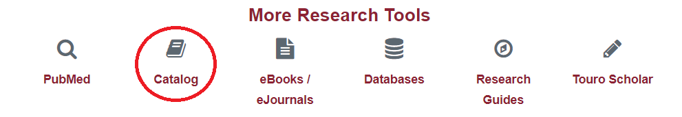 Catalog Link in the More Research Tools Box