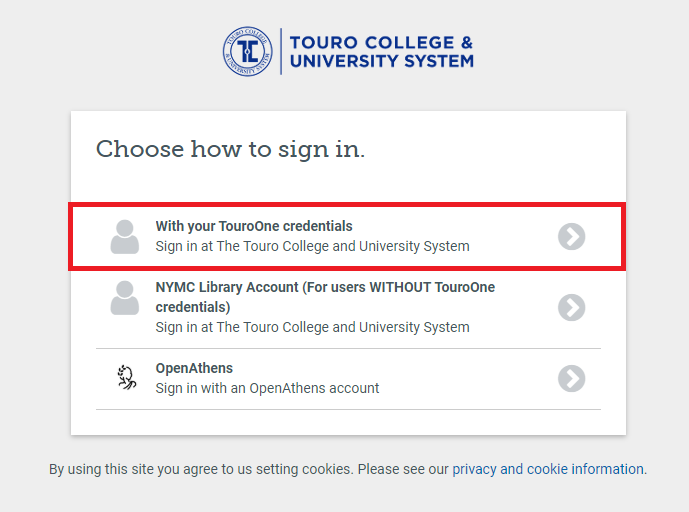OpenAthens Login Screen - Select TouroOne Credentials Option