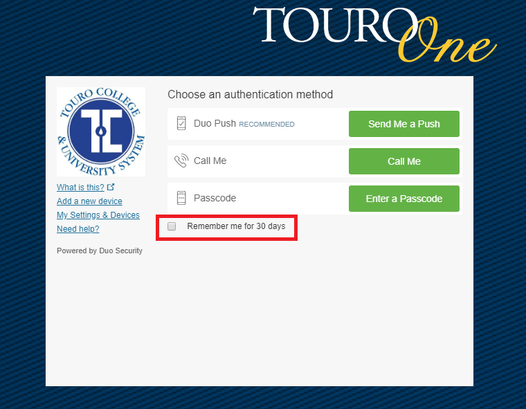TouroOne Login Screen