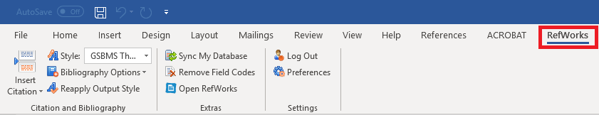 RefWorks Menu in Word