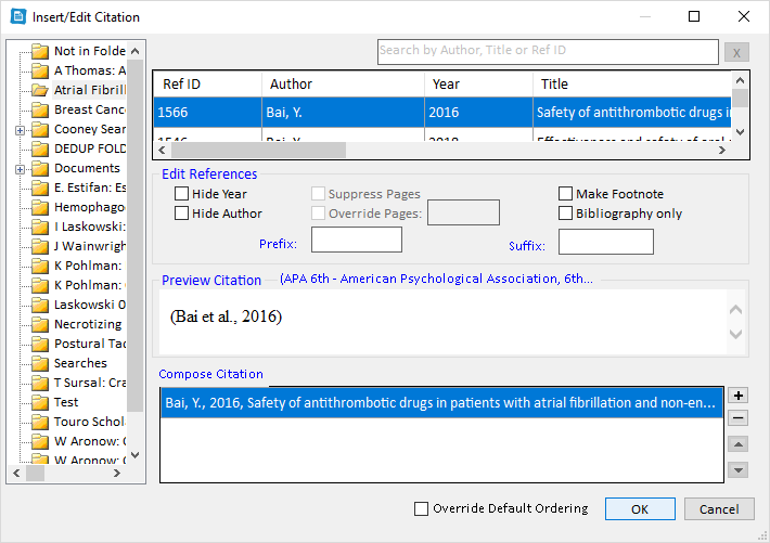 RefWorks Insert Citation Window in MS Word