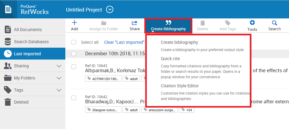 RefWorks Create Bibliography Menu in New RefWorks
