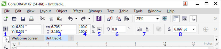 CorelDRAW image toolbar (labeled)