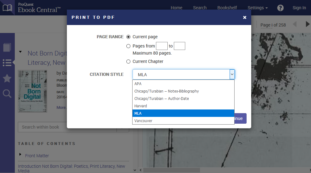 Printing menu options