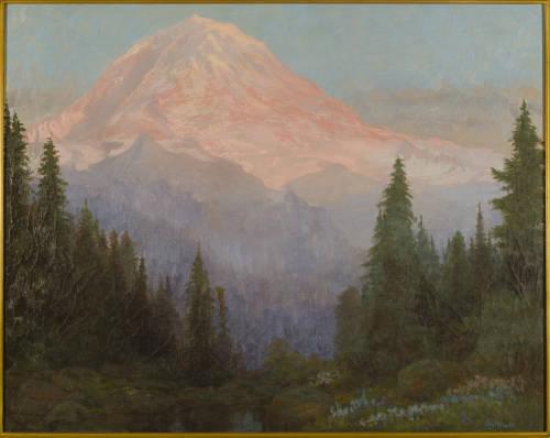 Landscape oil painting of Mount Rainier.