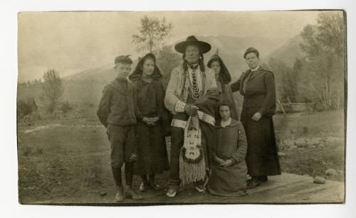 Photo of Hill, her children, and White Bull.