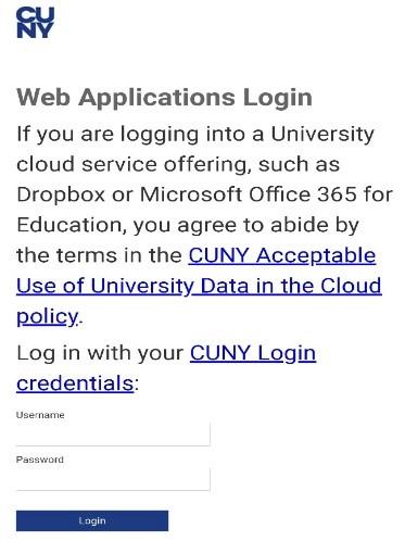 CUNY web applications login screenshot