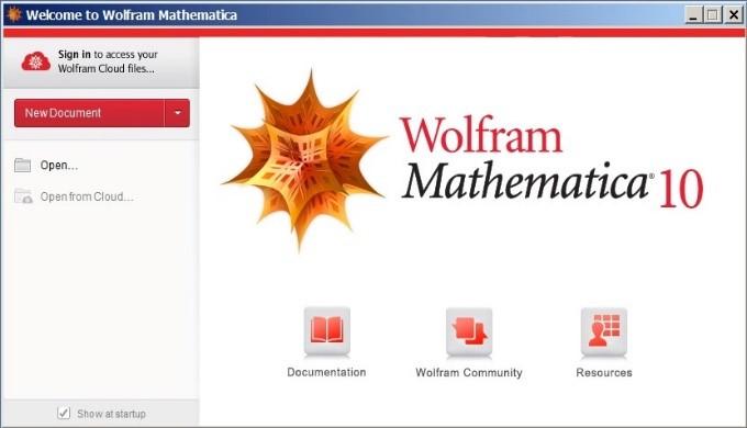 wolfram mathematica welcome screen