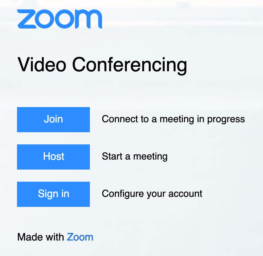 zoom login page