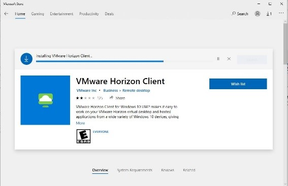 screenshot of VMware horizon client download page