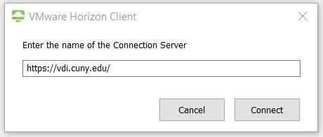 screenshor VMware Horizon Client enter name of server entry field
