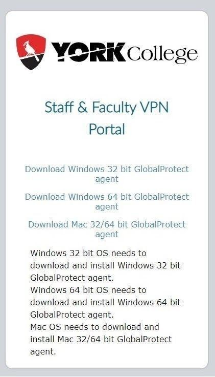 landing page screenshot for york college faculty staff VPN portal