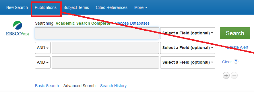 screenshot of ebscohost searching publications interface academic search complete