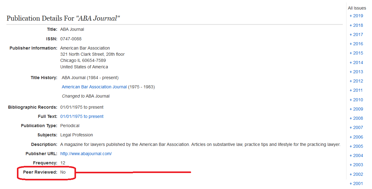 screenshot of ebscohost publication details for ABA journal