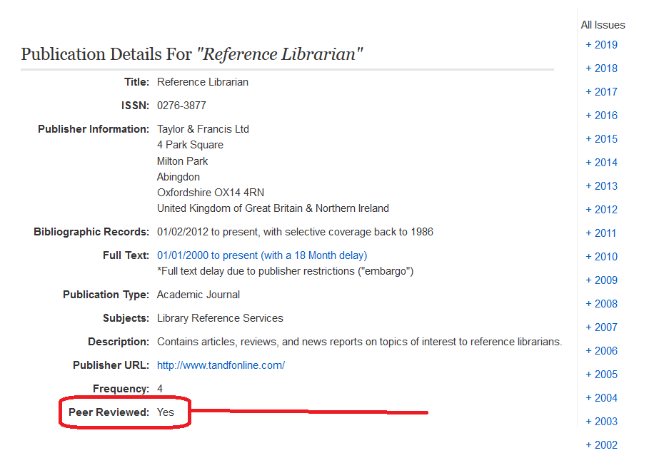 screenshot of ebscohost publication details for reference librarian