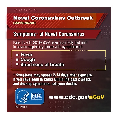 Novel Coronavirus Outbreak graphic. Center for Disease Control