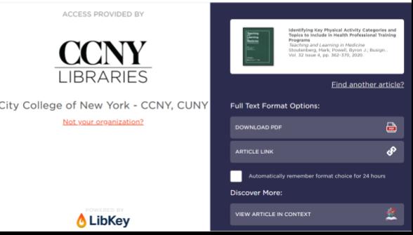 CCNY's LibKey.io page