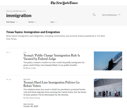 NY Times immigration landing page. 11.3.2020 screenshot.