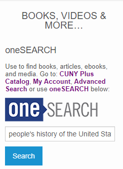 Screen grab of the OneSearch search box on the CCNY Library homepage.