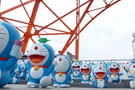 several statue of Japanese famous anime character, Draemon