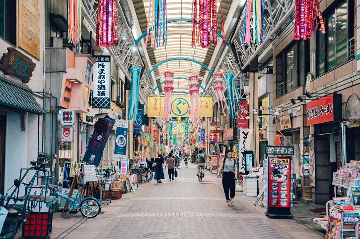 a traditional arcade in Kanagawa, Japan