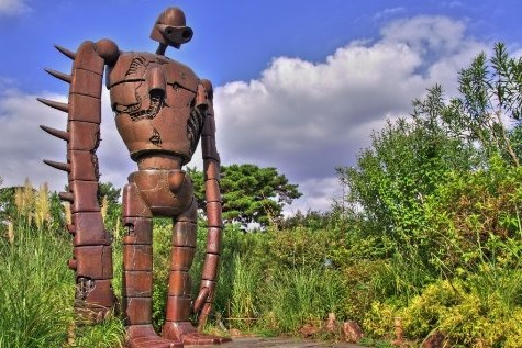 a statue of God Warrior standing in Ghibli museum
