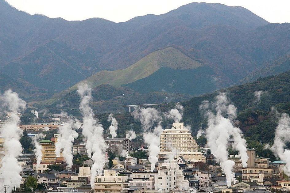 Steam rising from a hot spring in Beppu, Oita prefecture