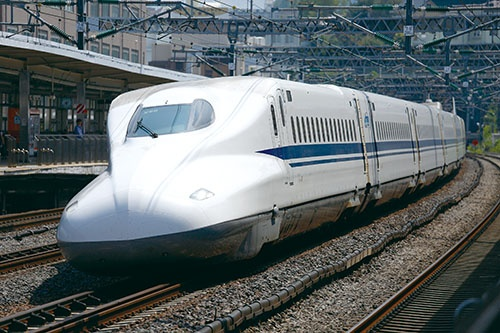 bullet train, about to pass a station