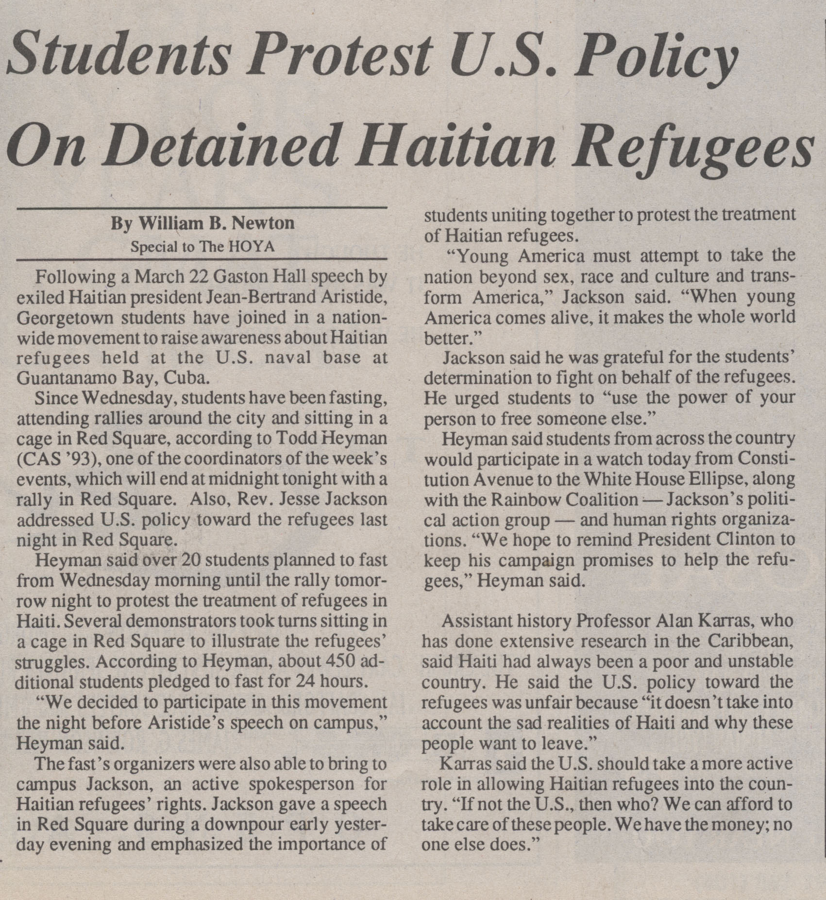 Hoya article on student protests over US policy toward Haiti
