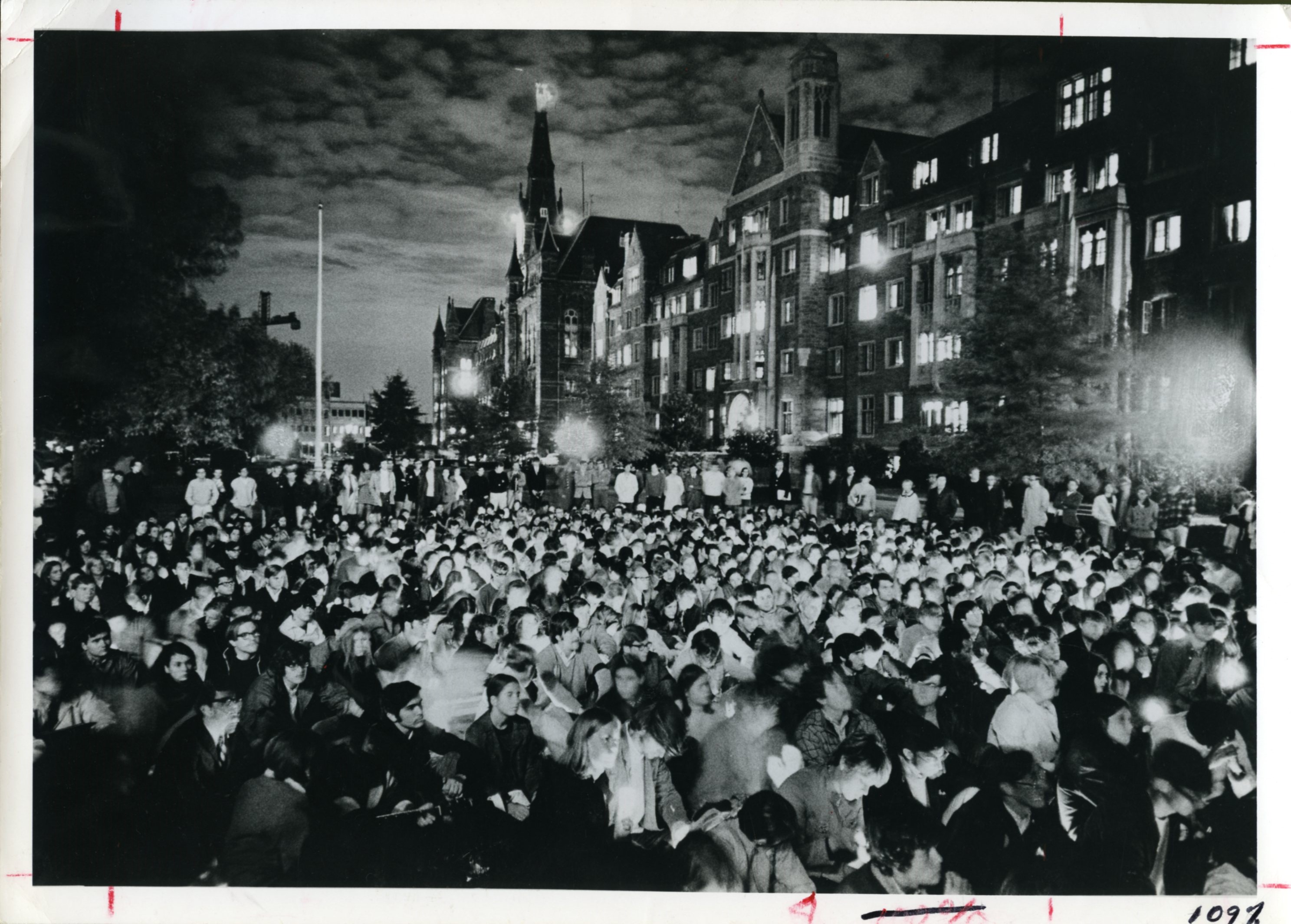 Vigil held on the campus of Georgetown University before the National Moratorium to End the Vietnam War in 1969.